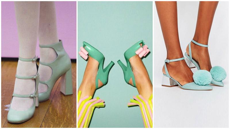 Pantofi de culoare menta
