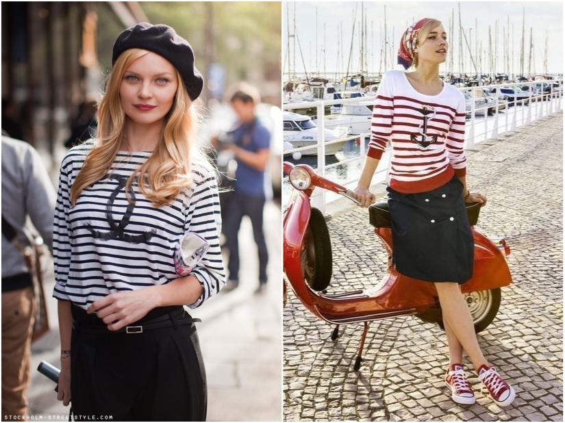 Bluză de ancorare și dungi roșii