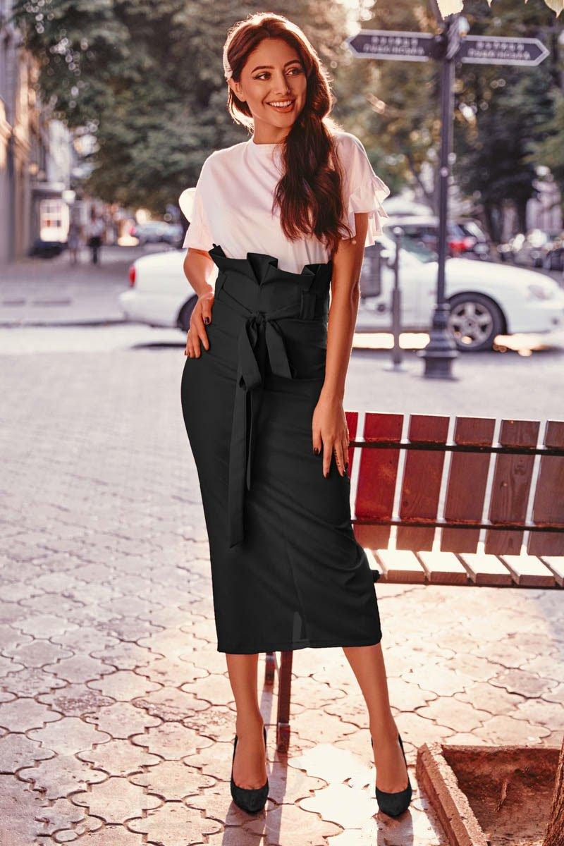 fusta cu talie înaltă pentru femei